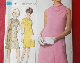 Size 14 Bust 34 Designer Fashion One Piece Dress with Cowl Neckline Vintage Simplicity 6908 Sewing Pattern
