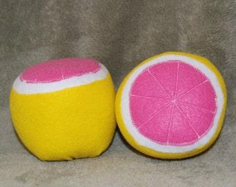 Set of 2 Felt Food Pink Grapefruit