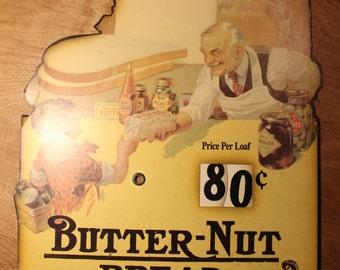 Vintage 1930's Era Butter-Nut Bread Brand Advertising Sign   Item #63