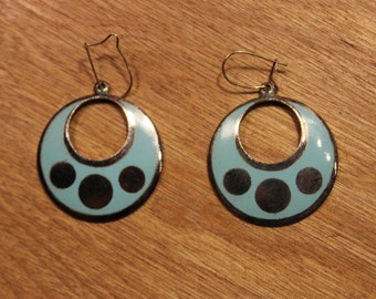 Blue / Silver Circle Earrings, item #172