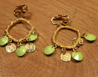 Gold Loop Clip On Earrings with Green Coin Accents, item #183
