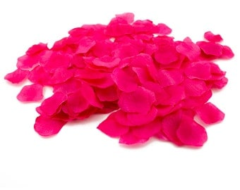 Loose Hot Pink Fuchsia Silk Rose Petals Table Scatter Wedding Reception Valentine's Day Ideas Romantic Arts & Crafts Bulk Valentines Day