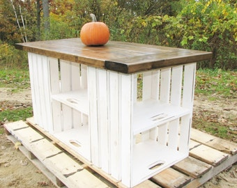 Kitchen Island, FREE SHIPPING, Distressed, Carved, Rustic, Country, Crate Storage