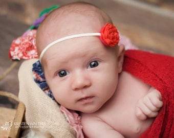 FREE SHIPPING! Cherry Red Headband, Baby Headband, Newborn Headband, Flower Headband, Girl Headbands, Photography Prop