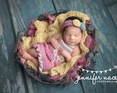 Newborn {Spring Serenade} Halter Ruffle Romper & Floral Tieback Set- Newborn Photography Prop