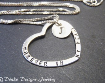 forever in my heart necklace Sterling silver memorial necklace remembrance gift in memory of jewelry