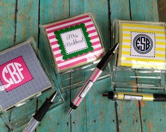 Sticky Note Holder, Personalized Sticky note holders, Monogrammed pens, Desk Accessories, Teacher Gifts, Personalized Teacher Gifts