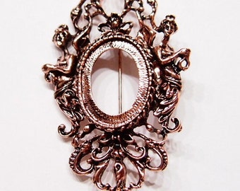 4 of 25x18 mm Rose Gold Old Victorian Style Muse or Graces Brooch Pin or Pendant Settings, for Cameos, Cabs, Glass, Tile