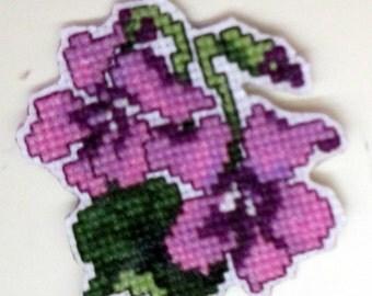 February violet cross stitch magnet
