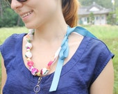 Fabric Necklace, Chomping, Teething, Nursing Necklace - Watercolor Floral