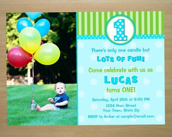 Boy 1st Birthday Invitation - Digital File (Printing Available)