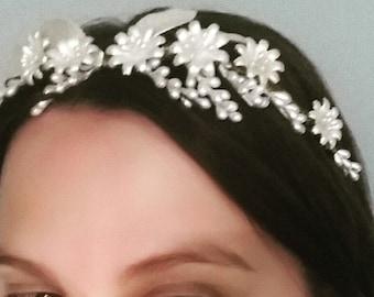 Wax flower crown, ivory crown, floral bridal headband, vintage headpiece