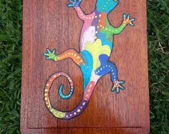Wood burning and painted multicolor  Lizard upcycled cigar box