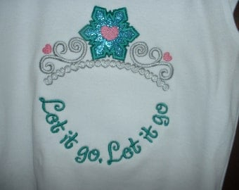 Frozen Embroidered Angel Sleeve Top--Size 3T- Monogramable