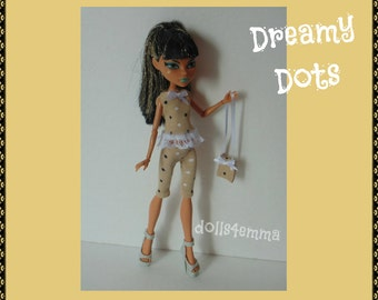 Custom Monster H Doll Clothes - Dreamy Dots Top, Capris Pants and Purse - Fashion by DOLLS4EMMA