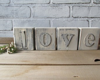 LOVE blocks Distressed Wood Blocks Vintage Wedding Decor Cottage Chic Decor