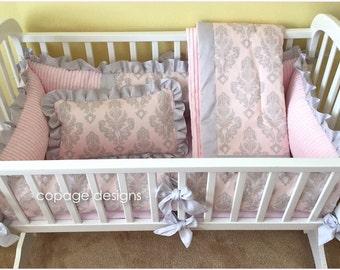 Pink & Gray Silver Damask Cradle Bedding Set Custom Made-To-Order