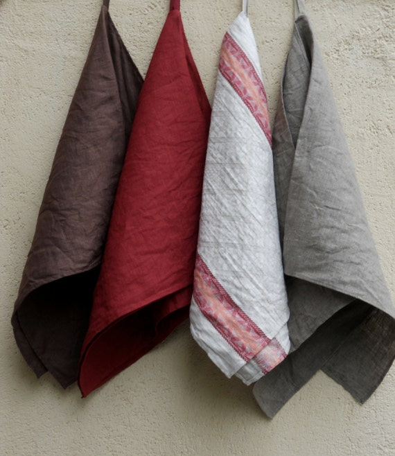 Grey Dish Rags: Long Kitchen Towels Natural Gray Dark Red Brown Linen By