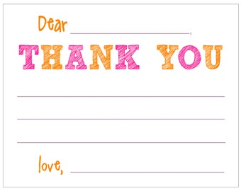 CF800 - girl fill-in thank you - set of 8 with KRAFT envelopes