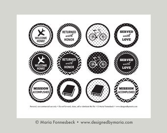 """LDS Missionary Welcome Home Cupcake Toppers Printable: 2"""" Party Circles -- Returned with Love & Served with Honor Party Decoration -- Black"""