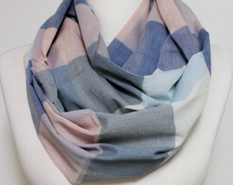 Pastel colors Plaid Infinity scarf, Circle scarf,  scarves, spring - fall - winter - summer fashion