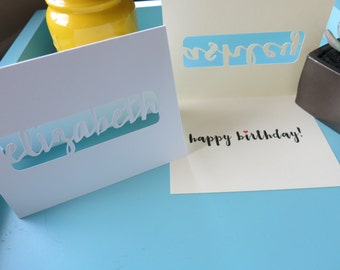 Personalized Happy Birthday Card, Greeting Card, Laser Cut Card - Customized Name
