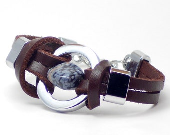 Black & Gray stone bead wrapped in Leather Bracelet