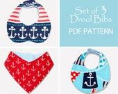Baby sewing pattern PDF, baby bib pattern, bib sewing pattern, toddler infant sewing pattern, bandana bib pattern, baby clothing pattern BIB