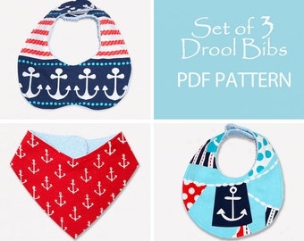 Baby Sewing Pattern, Baby Bib Pattern, Bandana Bib Pattern, Bib Patterns, Bib Pattern, Bib sewing pattern, PDF Sewing Pattern, DROOL BIBS