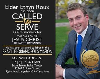 LDS Invitation - Gold Elder Missionary- Custom Boy LDS Missionary Photo Announcement/Invitation