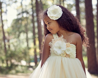 Champagne tutu dress- Ivory Flower Girl Dress - Ivory Tutu Dress - Mini Bridesmaid