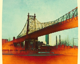 Queensborough Bridge, Queens, QueensBoro, Photography, Long Island City, NYC, Orange, FREE SHIPPING!
