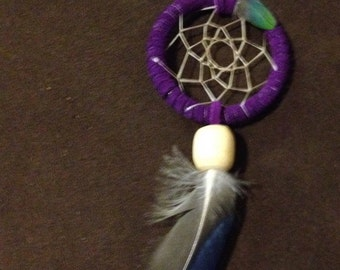 Mini Dreamcatcher Purple with Parrot and Duck feather