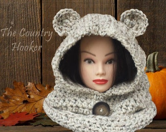 Extra Warm Crochet Bear Hood Hooded Cowl