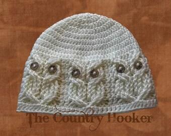 Custom Crochet Cabled Owl Hat It's A Hoot Beanie