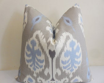Ikat pillow Cover in Dove- Ikat Print Fabric- Accent Pillow Decorative Designer Pillow - Toss Pillow -  Printed Slubbed Cotton Fabric