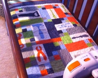 Tool Crib Quilt, Boy Nursery, Boy Crib Quilt, Custom Boy Quilt, Toolbox Crib Quilt, Carpenter Theme, Boy Birthday, Screwdriver, Hammer, Saw