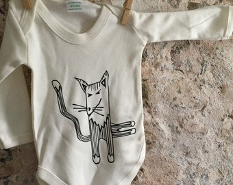 Cat babygrow, unisex baby bodysuit, cat lover, unique baby apparel