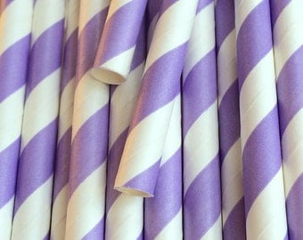 25 Lavender Paper Straws - Drinking Straw - Party Supplies