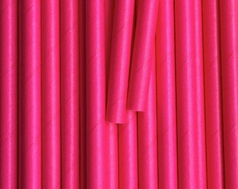 25 Hot Pink Paper Straws - Drinking Straw - Party Supplies