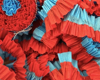 Red and Turquoise Ruffled Crepe Paper Streamers - 36 Feet - Party Decor Decoration Supplies
