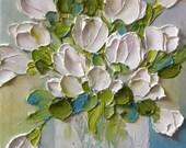 White Tulip Oil Painting,  Tulip Impasto Oil Painting,White Tulip Painting, White Tulips