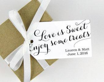 Wedding Favor Tag - Love is Sweet Enjoy some Treats - Bridal Shower - Sweet Wedding Favor - Wedding Favor Ideas - Party Favor Tags - LARGE