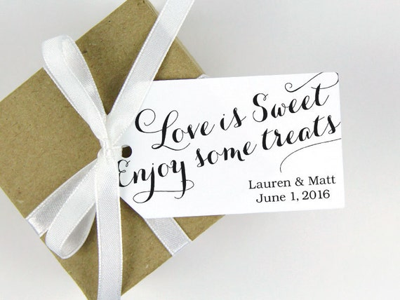 Love Is Sweet Wedding Gift Tags : Wedding Favor Tag - Love is Sweet Enjoy some Treats - Bridal Shower ...
