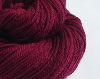 Aran yarn - Hand dyed Superwash Merino,   - deep plum