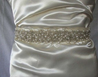 Ivory Pearl Bridal Sash , Wedding Belt , Satin Ribbon Bridal Sash,Wedding Sash ,  Bridesmaid Bridal Accessories