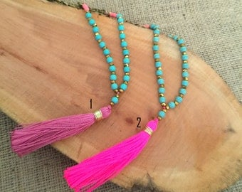 N621 - Long Antique Bronze Chain Necklace - Turquoise Beads and Pink Tassel - Long Tassel Necklace -Boho Jewelry - Claribella