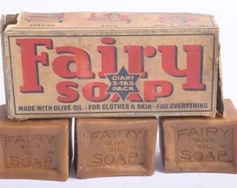 Vintage 1950s Fairy Olive Oil soap bars