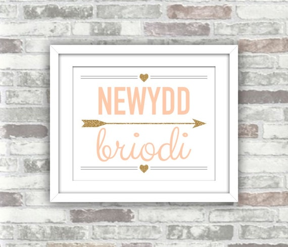 INSTANT DOWNLOAD - Newydd Briodi Welsh Just Married Printable Sign - Digital Print File - Blush Gold Glitter - 8x10 - Wales Welsh language