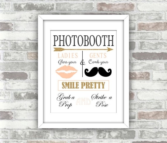 INSTANT DOWNLOAD - Printable Wedding Photobooth Sign - Digital File - Gold Glitter Blush Pink - Comb your Moustache Gloss your Lips - 8x10